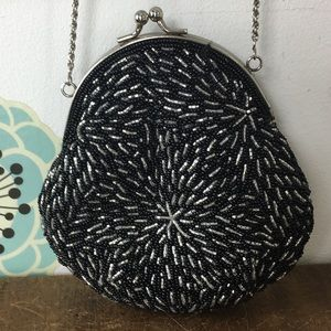 Vintage Beaded Evening Bag with Chain Strap